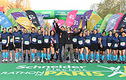 Pacers pose at the start of the 43rd Paris Marathon in IAAF Gold Label road race in Paris, Sunday, April 14, 2019. (Jiro Mochizuki/Image of Sport)
