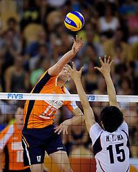 09-07-2010 VOLLEYBAL: WLV NEDERLAND - ZUID KOREA: EINDHOVEN<br /> Nederland verslaat Zuid Korea met 3-1 / Rob Bontje<br /> ©2010-WWW.FOTOHOOGENDOORN.NL