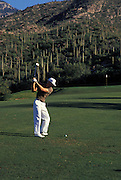 Making a shot down the fairway at Ventana Canyon Golf Course, Tucson, Arizona