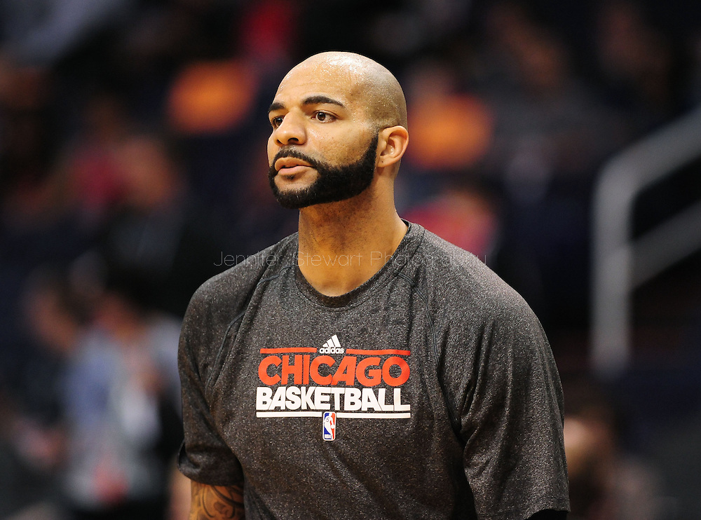 Nov. 14, 2012; Phoenix, AZ, USA; Chicago Bulls forward Carlos Boozer (5) warms up prior to the game against the Phoenix Suns at the US Airways Center.  The Bulls defeated the Suns 112-106 in overtime. Mandatory Credit: Jennifer Stewart-USA TODAY Sports.