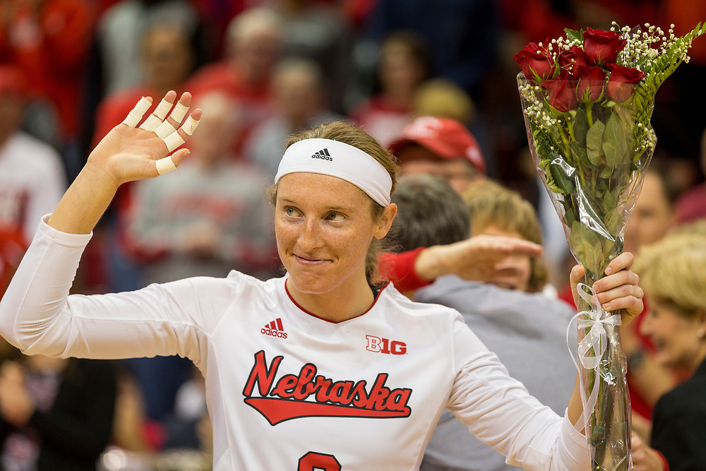 Nebraska outside hitter Kadie Rolfzen #6 waves to fans during a Senior Night ceremony following Nebraska's Big Ten Championship clinching 3-1 win over Michigan at the Devaney Sports Center in Lincoln, Neb. on Nov. 26, 2016. Photo by Aaron Babcock, Hail Varsity