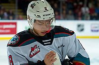 KELOWNA, BC - DECEMBER 30:  Trevor Wong #8 of the Kelowna Rockets checks his stick at the bench during out against the Prince George Cougars at Prospera Place on December 30, 2019 in Kelowna, Canada. (Photo by Marissa Baecker/Shoot the Breeze)
