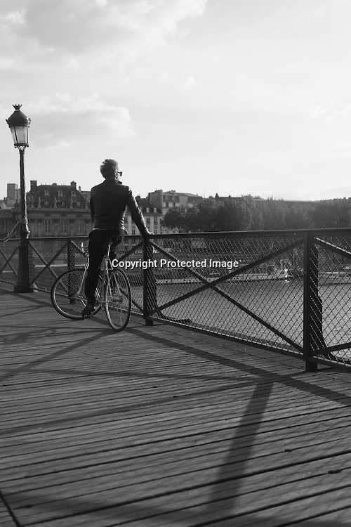France. Paris. 1st district. the pont des Arts - art bridge - on the Seine river   / le pont des arts sur la seine paris
