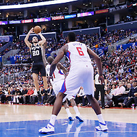 16 December 2013: San Antonio Spurs shooting guard Manu Ginobili (20) takes a jumpshot during the Los Angeles Clippers 115-92 victory over the San Antonio Spurs at the Staples Center, Los Angeles, California, USA.