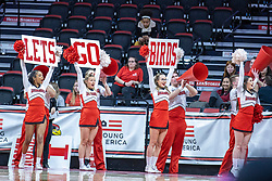 "NORMAL, IL - February 27: Redbird Cheerleaders ""Lets go birds"" during a college women's basketball game between the ISU Redbirds and the Bears of Missouri State February 27 2020 at Redbird Arena in Normal, IL. (Photo by Alan Look)"
