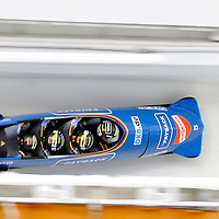 16 December 2007:  The Germany 1 four-man bobsled driven by Andre Lange with Alexander Rodiger, Alexander Metzger and brakeman Martin Putze compete at the FIBT World Cup 4-Man bobsled competition on December 16, 2007 at the Olympic Sports Complex in Lake Placid, NY.  The Russia 2 sled driven by Alexandr Zubkov won the race with a time of 1:48.79.