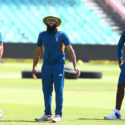 Durban South Africa - December 24, AB de Villiers (vice-capt) with Hashim Amla (capt) and Kagiso Rabada during the South African training session at Sahara Stadium Kingsmead, 24 December 2015. (Photo by Steve Haag) images for social media must have consent from Steve Haag