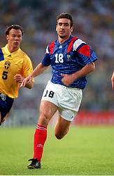 Eric Cantona in action for France. France v Sweden, Stockholm, Sweden, Euro 92.