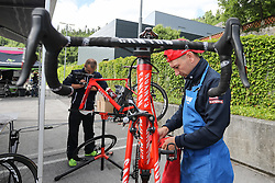 Worker of Katusha before press conference of cycling race Po Sloveniji - Tour de Slovenie 2015 on June 15, 2016 in Hotel Jama, Postojna, Slovenia. Photo by Morgan Kristan / Sportida
