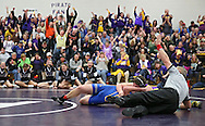 Alburnett's Robbie Carrothers (right) pins Wilton's Tanner Gandia during the 195-pound bout in the Class 1A Wrestling Regional between Alburnett and Wilton at Alburnett High School in Alburnett on Tuesday, February 5, 2013. Carrothers defeated Gandia with a fall. (Stephen Mally/Freelance)