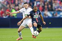 Greogory Berthier / Lucas Moura - 30.05.2015 - Auxerre / Paris Saint Germain - Finale Coupe de France<br />Photo : Andre Ferreira / Icon Sport