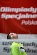 Katowice, Poland - 2018 June 11: Special Olympics Athlete Robert Maj competes in men's badminton competition during National Special Olympics Games 2018 at AWF Katowice on June 11, 2018 in Katowice, Poland.<br /> <br /> Adam Nurkiewicz declares that he has no rights to the image of people at the photographs of his authorship.<br /> <br /> Picture also available in RAW (NEF) or TIFF format on special request.<br /> <br /> Any editorial, commercial or promotional use requires written permission from the author of image.<br /> <br /> Image can be used in the press when the method of use and the signature does not hurt people on the picture.<br /> <br /> Mandatory credit:<br /> Photo by &copy; Adam Nurkiewicz / Mediasport