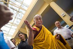 INDIA - Dalai Lama <br /> Dalai Lama makes his way out of the temple after a morning prayer ceremony in Dharamsala, India, May 26, 2009.