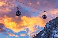 The Silver Queen Gondola on Aspen Mountain at sunrise in Aspen, Colorado.