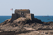 """Saint-Malo, """"Fort National"""" Fortress by military architect Vauban on the """"Sillon"""" beach"""