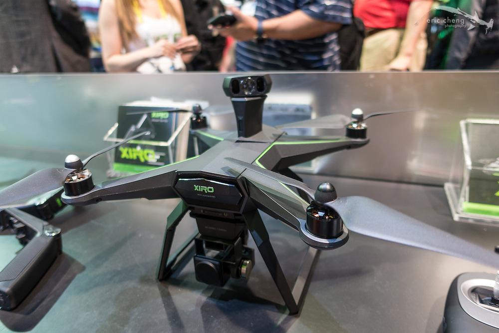 Xiro quadcopter concept with rotating, single-lens camera for object detection. CES 2016, Las Vegas.