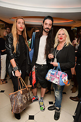 "Left to right, TATUM MAZZILLI, ROCKY MAZZILLI and LOUISE MAZZILLI at a party to celebrate the publication of ""Lady In Waiting: The Wristband Diaries"" By Lady Victoria Hervey held at The Goring Hotel, Beeston Place, London on 9th May 2016."