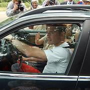 92ste verjaardag Pr. Bernhard Sr., Prinses Margriet en zoon prins Maurits