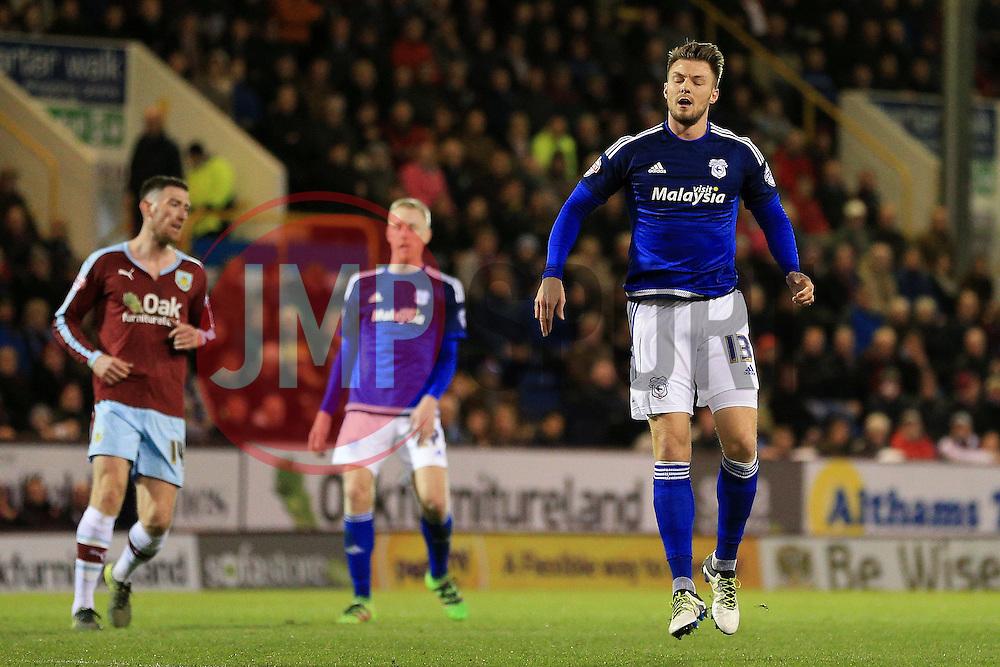 Anthony Pilkington of Cardiff City rues a missed chance - Mandatory by-line: Matt McNulty/JMP - 05/04/2016 - FOOTBALL - Turf Moor - Burnley, England - Burnley v Cardiff City - SkyBet Championship