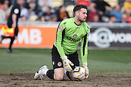 Newport goalkeeper Ian McLouglin looks dejected after conceding Portsmouth's first goal from the penalty spot. Skybet football league two match, Newport county v Portsmouth at Rodney Parade in Newport, South Wales on Saturday 29th March 2014.<br /> pic by Mark Hawkins, Andrew Orchard sports photography.