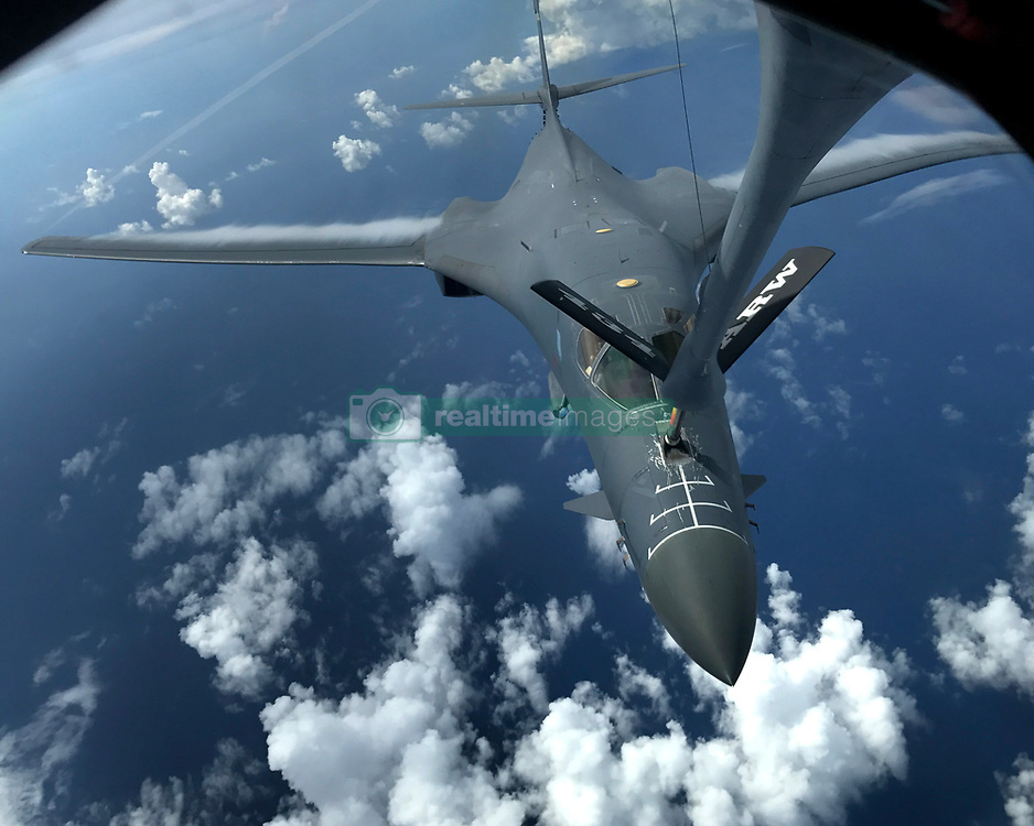 A U.S. Air Force B-1B Lancer assigned to the 37th Expeditionary Bomb<br /> Squadron, deployed from Ellsworth Air Force Base, South Dakota, refuels during a 10-hour mission from<br /> Andersen Air Force Base, Guam, flying in the vicinity<br /> of Kyushu, Japan, the East China Sea, and the Korean peninsula, Aug. 7,<br /> 2017 (HST). During the mission, two B-1s were joined by Japan Air Self-Defense<br /> Force F-2s as well as Republic of Korea Air Force KF-16 fighter jets, performing two<br /> sequential bilateral missions. These flights with Japan and the Republic of<br /> Korea (ROK) demonstrate solidarity between Japan, ROK and the U.S. to defend<br /> against provocative and destabilizing actions in the Pacific theater. (U.S. Air Force photo/Airman 1st Class Gerald Willis)