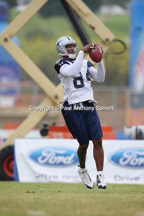 OXNARD, CA - AUGUST 01:  Wide receiver Patrick Crayton #84 of the Dallas Cowboys leaps and catches a pass during the 2008 Dallas Cowboys Training Camp at River Ridge Field in Oxnard, California on August 1, 2008. ©Paul Anthony Spinelli *** Local Caption *** Patrick Crayton