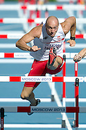 Artur Noga from Poland competes in men's 110 meters hurdles qualification during the 14th IAAF World Athletics Championships at the Luzhniki stadium in Moscow on August 11, 2013.<br /> <br /> Russian Federation, Moscow, August 11, 2013<br /> <br /> Picture also available in RAW (NEF) or TIFF format on special request.<br /> <br /> For editorial use only. Any commercial or promotional use requires permission.<br /> <br /> Mandatory credit:<br /> Photo by © Adam Nurkiewicz / Mediasport