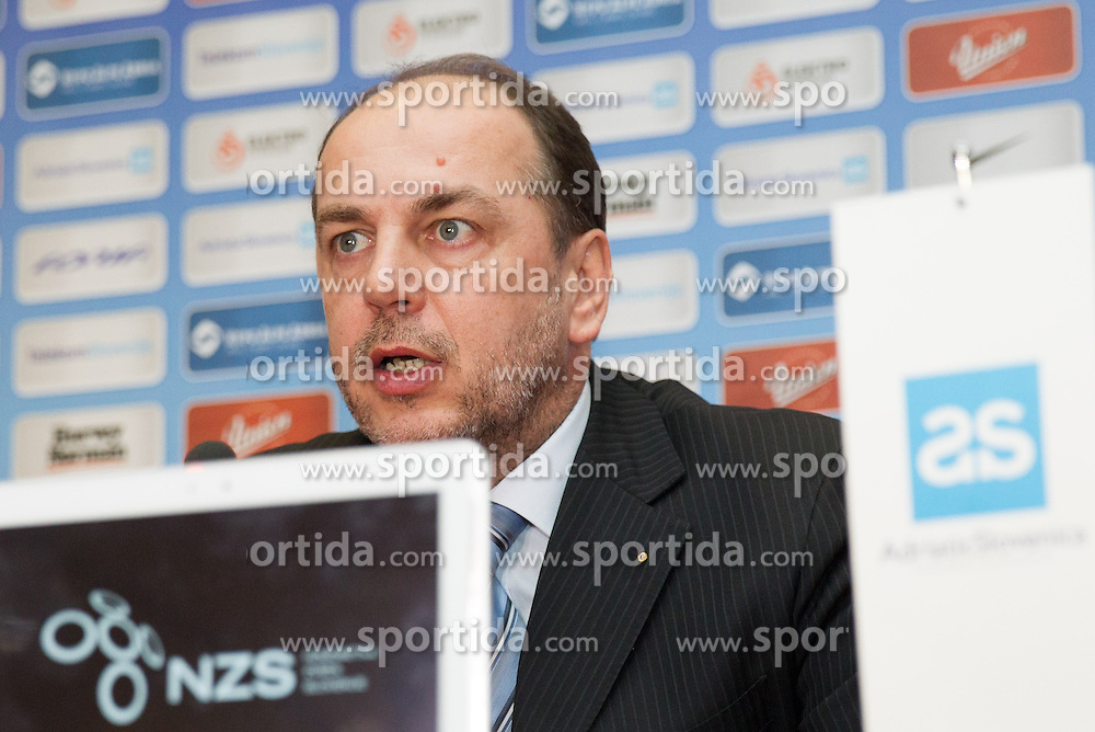 Gabrijel Skof, general manager of Adriatic Slovenica d.d. during press conference of Football Association of Slovenia (NZS) on January 22, 2013 in Austria Trend Hotel, Ljubljana, Slovenia. (Photo By Vid Ponikvar / Sportida.com)