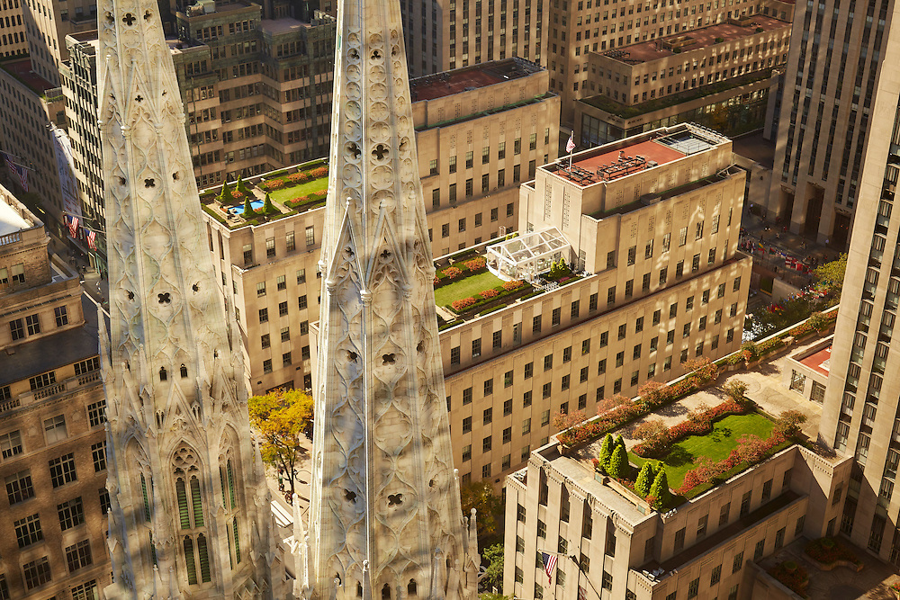 View of Saint Patrick's Cathedral spires and Rockefeller Center from 641 Fifth Avenue, 26th floor