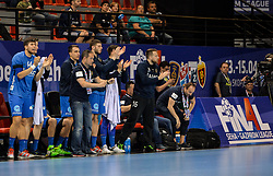 Branko Tamse, coach of Celje PL and players during handball match between Meshkov Brest and RK Celje Pivovarna Lasko in bronze medal match of SEHA- Gazprom League Final 4, on April 15, 2018 in Skopje, Macedonia. Photo by  Sportida