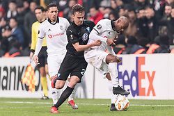 (L-R) Adriano Correia Claro of Besiktas JK , Andreas Vindheim of Malmo FF, Vagner Silva de Souza Love of Besiktas JK during the UEFA Europa League group I match between between Besiktas AS and Malmo FF at the Besiktas Park on December 13, 2018 in Istanbul, Turkey