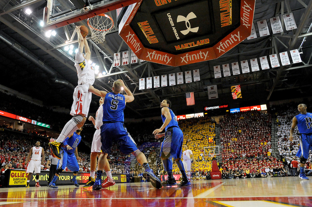 16 February 2013:   Maryland Terrapins center Alex Len (25) in action against Duke Blue Devils forward Mason Plumlee (5) at the Comcast Center in College Park, MD. where the Maryland Terrapins upset the second ranked Duke Blue Devils, 83-81.