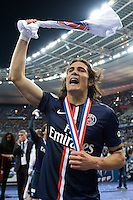 Joie PSG - Edinson Cavani - 30.05.2015 - Auxerre / Paris Saint Germain - Finale Coupe de France<br />
