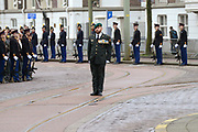 In Den Haag, op Plein 1813 vindt een vaandelgroet plaats van de Koninklijke Landmacht aan Koning Willem-Alexander. De vaandelgroet is tevens de aftrap van het 200-jarig jubileum van de Koninklijke Landmacht. <br /> <br /> In The Hague, on Plein 1813 a banner greeting takes place from the Royal Army of King Willem-Alexander. The standard greeting is also the kickoff of the 200th anniversary of the Royal Army.<br /> <br /> Op de foto / On the Photo:  Marco Kroon, drager van de Militaire Willems-Orde