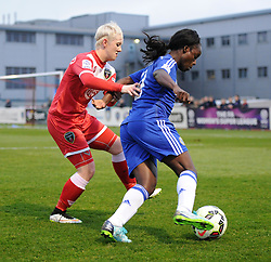 Bristol Academy's Lauren Townsend marks Eniola Aluko of Chelsea Ladies - Photo mandatory by-line: Paul Knight/JMP - Mobile: 07966 386802 - 02/04/2015 - SPORT - Football - Bristol - Stoke Gifford Stadium - Bristol Academy Women v Chelsea Ladies - FA Women's Super League