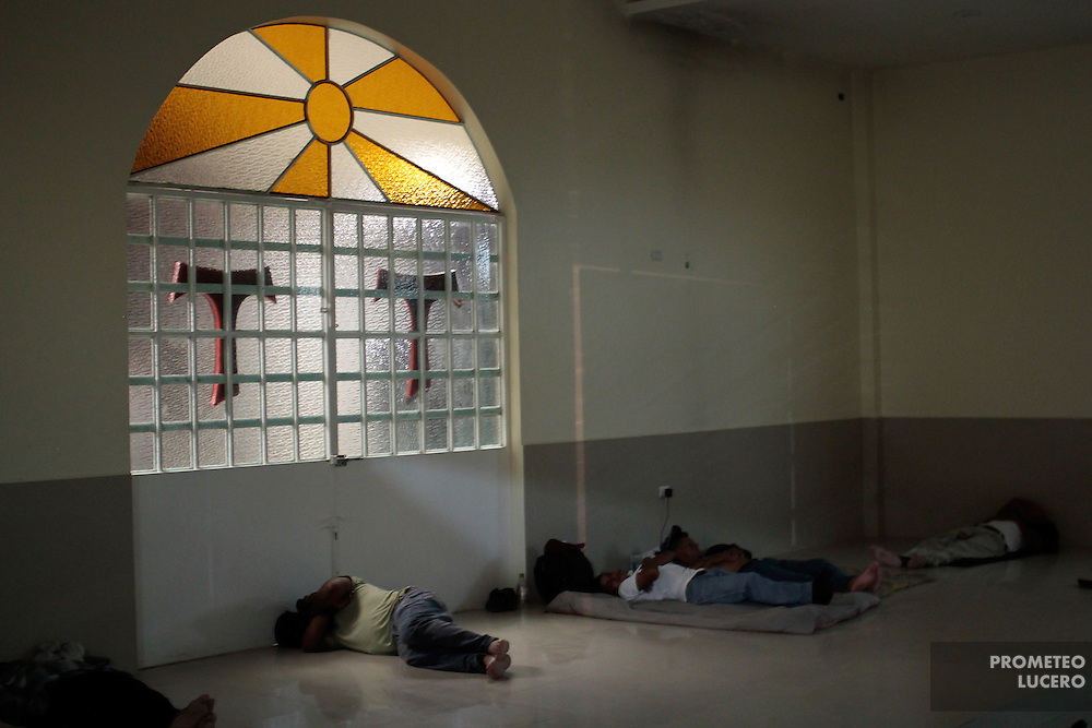 "Migrants sleep inside the church located in the migrant shelter ""La 72"". (Photo: Prometeo Lucero)"