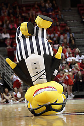05 December 2015: Zooperstar Harry Canary performs a jumping head stand. Illinois State Redbirds host the University of Alabama - Birmingham Blazers at Redbird Arena in Normal Illinois (Photo by Alan Look)