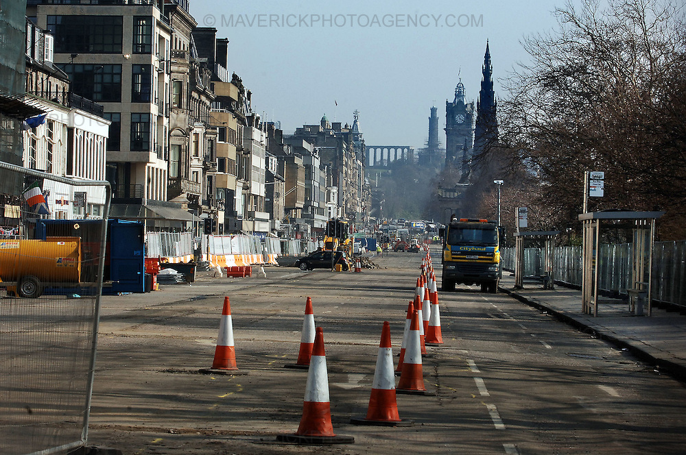 Eleventh hour talks are being held in Edinburgh to negotiate the way forward for the stalled tram works...A stalemate ensued after Transport Initiative Edinburgh (TIE) accused contractors of demanding millions of pounds of in additional payments...Pic shows the tram works on Princes Street in Edinburgh.