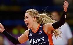 07-01-2016 TUR: European Olympic Qualification Tournament Nederland - Kroatie, Ankara<br /> Nederland verslaat Kroatië met 3-0 en gaat als groepswinnaar de halve finale in / Een dolblije Laura Dijkema #14
