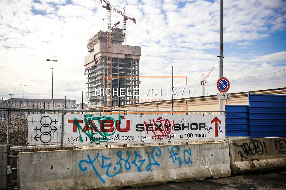 Cantiere del grattacielo della Regione Piemonte in via Nizza al Lingotto nell'area dell'ex Fiat Avio Torino 21 gennaio 2014