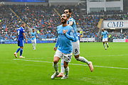 Goal - Bernardo Silva (20) of Manchester City celebrates scoring a goal to give a 0-2 lead to the away team during the Premier League match between Cardiff City and Manchester City at the Cardiff City Stadium, Cardiff, Wales on 22 September 2018.