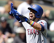 CHICAGO - JULY 02:  Robinson Chirinos #61 of the Texas Rangers reacts after scoring against the Chicago White Sox on July 2, 2017 at Guaranteed Rate Field in Chicago, Illinois.  The White Sox defeated the Rangers 6-5.  (Photo by Ron Vesely) Subject:   Robinson Chirinos
