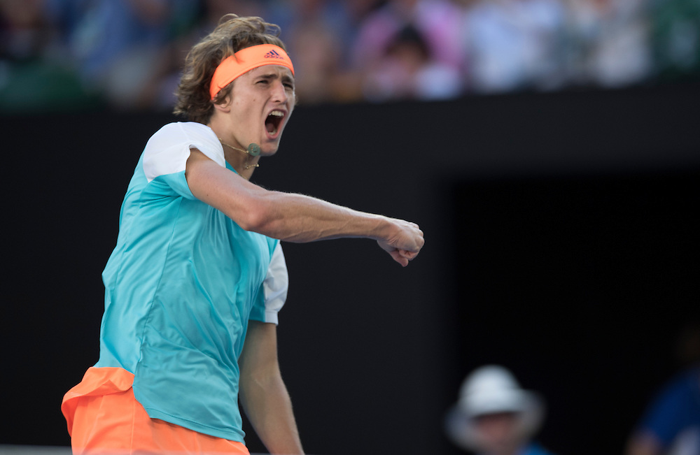 Alexander Zverev of Germany on day six of the 2017 Australian Open at Melbourne Park on January 21, 2017 in Melbourne, Australia.<br /> (Ben Solomon/Tennis Australia)