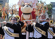 Members of marching band perform during the 119th annual Chinese New Year &quot;Golden Dragon Parade&quot; in the streets of Chinatown in Los Angeles, the United States, Saturday Feburary 17, 2018. (Xinhua/Zhao Hanrong)<br /> 2月17日,在美国洛杉矶,乐队成员在游行队伍里表演。当日,第119届金龙大游行在洛杉矶举行,庆祝中国农历新年。 (Photo by Ringo Chiu)<br /> <br /> Usage Notes: This content is intended for editorial use only. For other uses, additional clearances may be required.