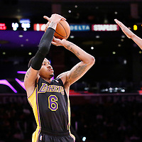 28 February 2014: Los Angeles Lakers shooting guard Kent Bazemore (6) takes a jump shot during the Los Angeles Lakers 126-122 victory over the Sacramento Kings at the Staples Center, Los Angeles, California, USA.