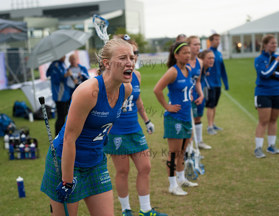 Scotland's Charlie Bergquist shouts encouragement in the dying seconds against Israel during their classification game at the 2017 FIL Rathbones Women's Lacrosse World Cup, at Surrey Sports Park, Guildford, Surrey, UK, 21st July 2017.