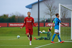 KIRKBY, ENGLAND - Wednesday, November 27, 2019: Liverpool's Elijah Dixon-Bonner celebrates scoring the third goal during the UEFA Youth League Group E match between Liverpool FC Under-19's and SSC Napoli Under-19's at the Liverpool Academy. (Pic by David Rawcliffe/Propaganda)