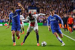 PSG Midfielder Blaise Matuidi (FRA) is challenged by Chelsea Defender Branislav Ivanovic (SRB) and Forward Fernando Torres (ESP) - Photo mandatory by-line: Rogan Thomson/JMP - 07966 386802 - 08/04/2014 - SPORT - FOOTBALL - Stamford Bridge, London - Chelsea v Paris Saint-Germain - UEFA Champions League Quarter-Final Second Leg.