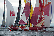 CAMPER with Emirates Team New Zealand get a good clean start. In Port Race Galway Ireland. Volvo Ocean Race 2011-2012. 7/7/2012
