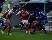 Michael Antonio is tackled during the Sky Bet Championship match between Rotherham United and Nottingham Forest at the New York Stadium, Rotherham, England on 13 December 2014.